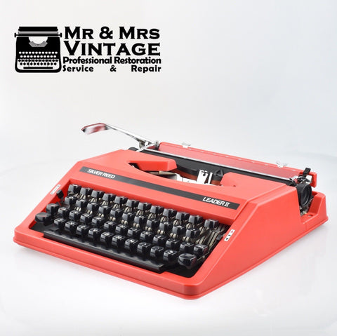 Retro Silver Reed Leader 2 II Red Typewriter