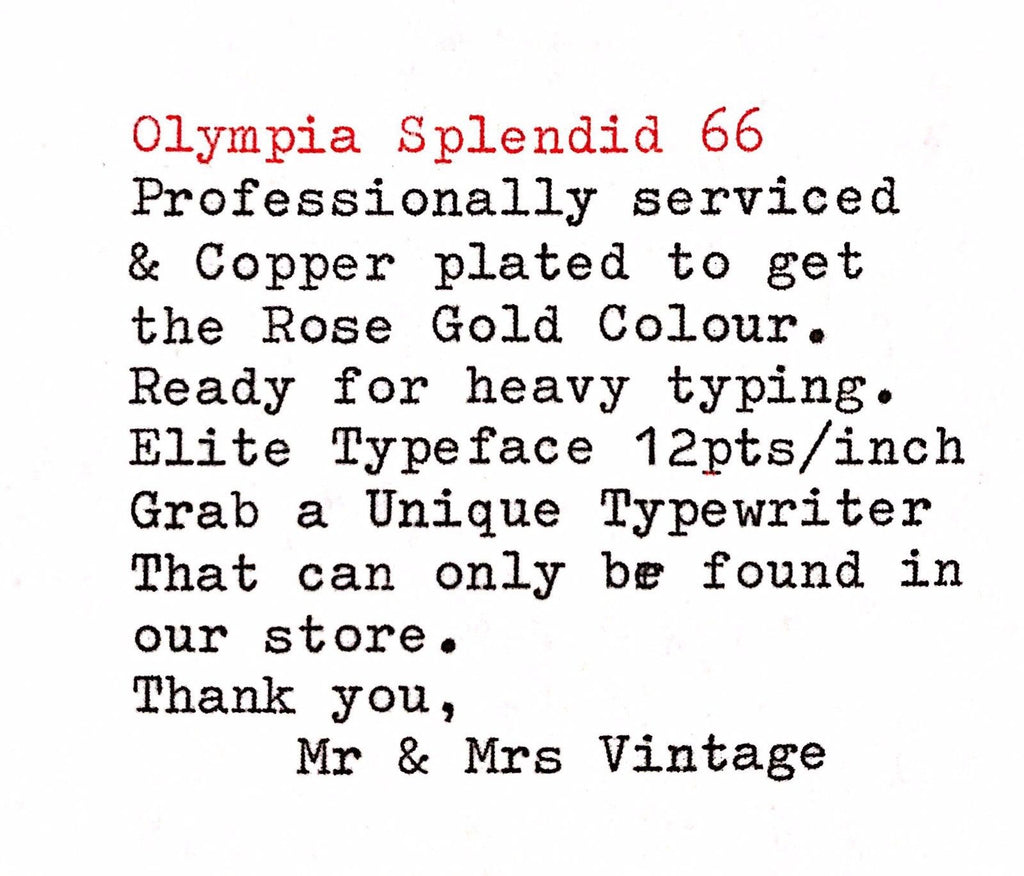 Copper plated Olympia Splendid 66 Typeface