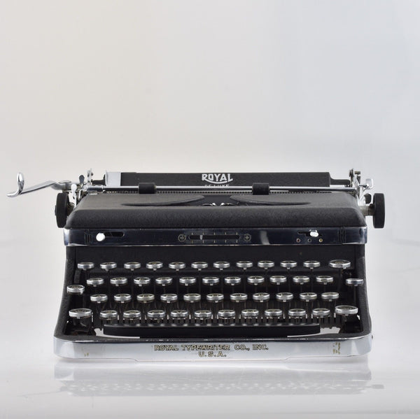 "Royal A Typewriter with Chrome Edges and Rare Typeface ""Medium Roman Font"""