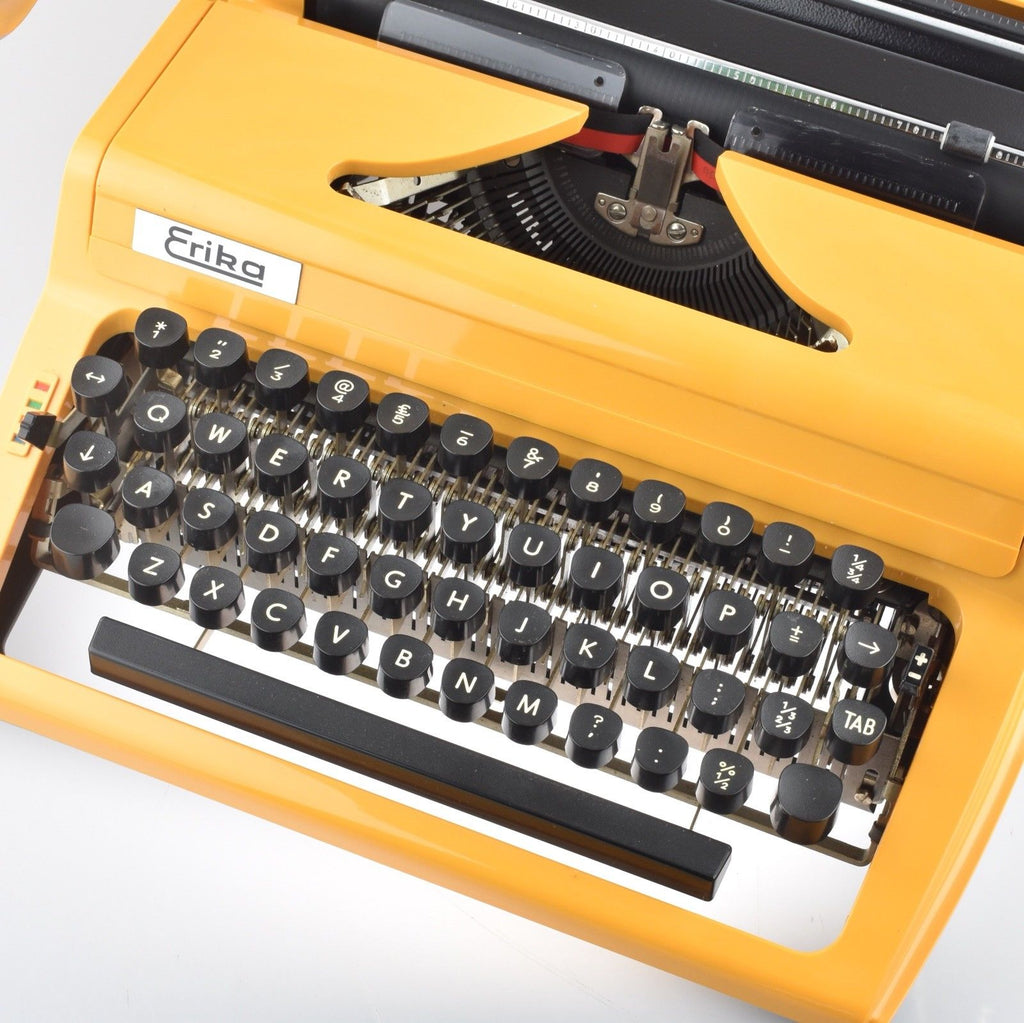Professionally Serviced Working Erika Typewriter in Supernova Yellow