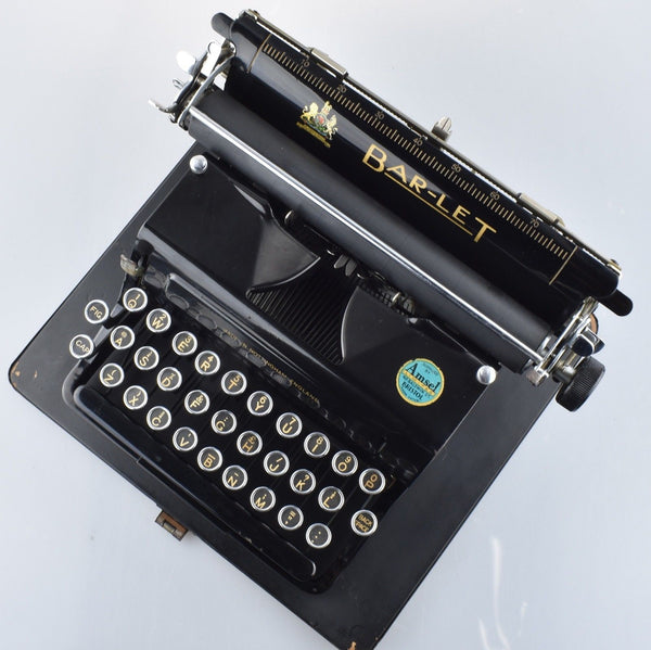 Vintage Bar LET Model 2 Typewriter Glossy Black Bladk Ribbon Polished & Rare Kit