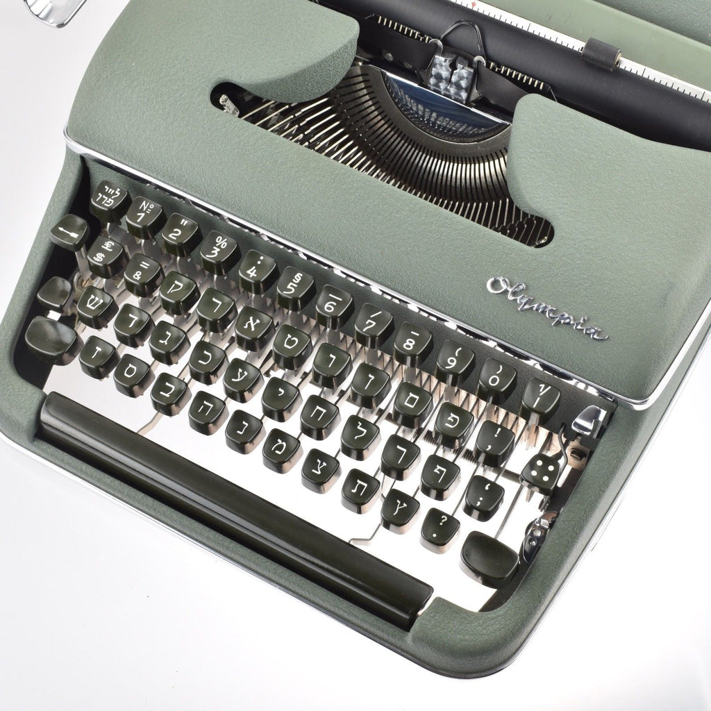 Professionally Serviced Working Olympia SM2 Hebrew Typewriter
