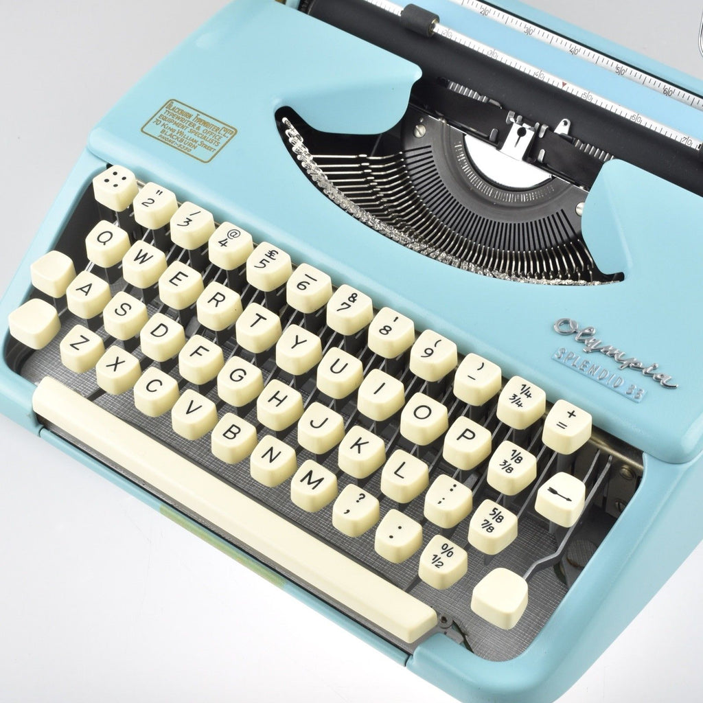 Restored Serviced Working Olympia Splendid 33 Blue Typewriter