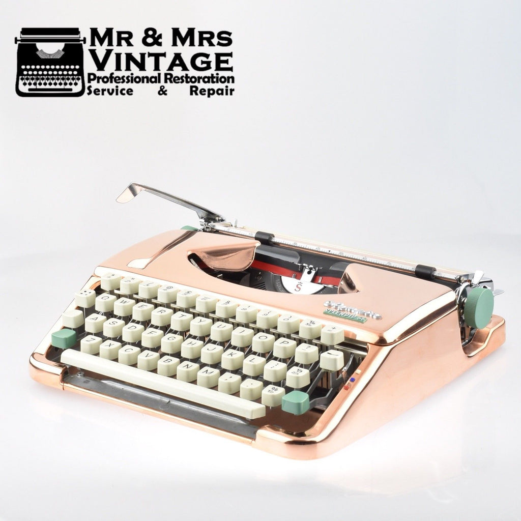 Professionally Serviced Working Copper plated Olympia Splendid 66 typewriter