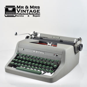 Royal Quiet Deluxe Typewriter RQD with Green Keys and Case.