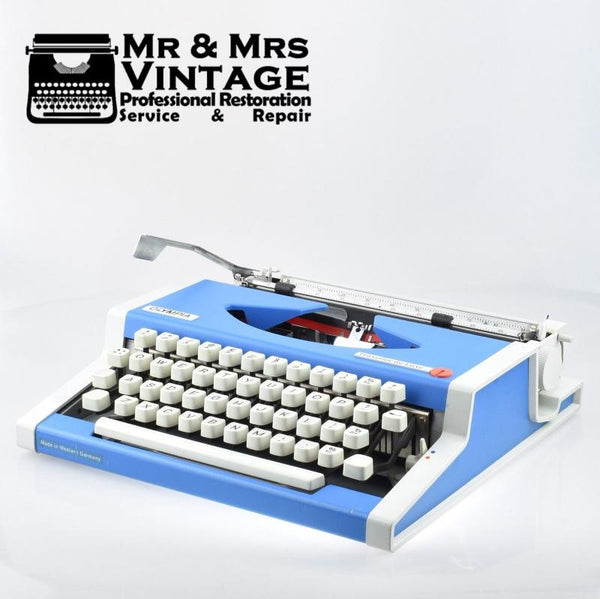 Olympia Traveller Deluxe Typewriter in Blue & White (Limited Edition)