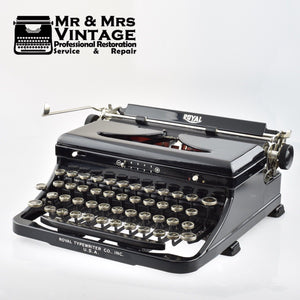 Glossy Black Royal O Typewriter - Fully Refurbished.