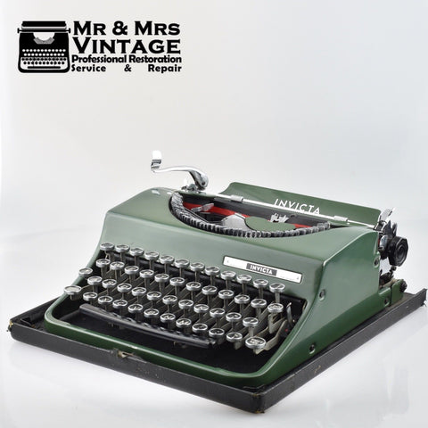 Rare Invicta Typewriter in Special Green and Glass topped keys