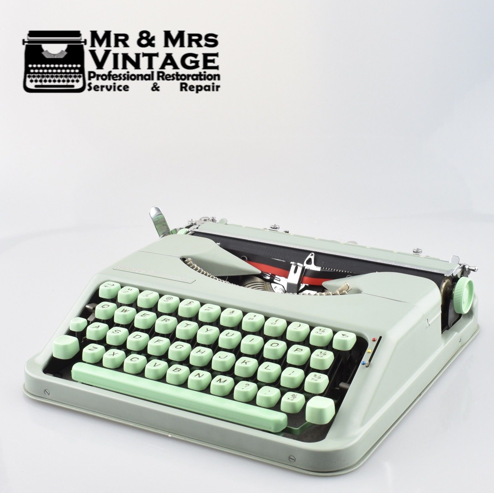 Pristine Hermes Baby Typewriter with Green Keys Mint Condition