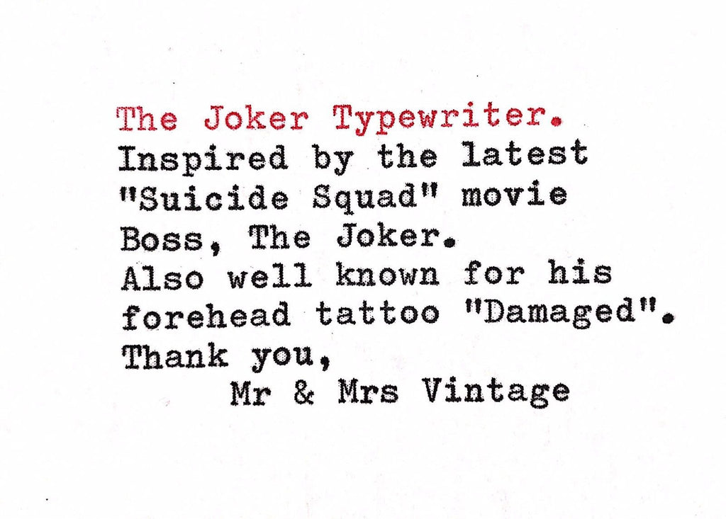 Special Edition The Joker Boss Olympia Traveller Typewriter Design