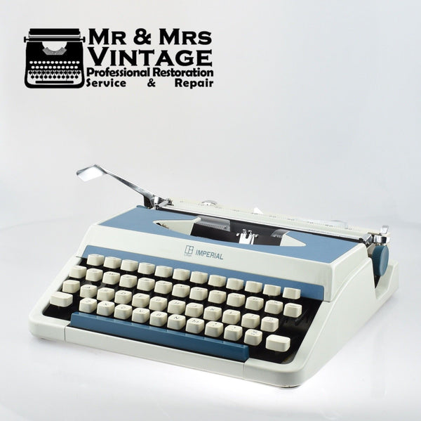 Imperial 201 Typewriter in Blue & White