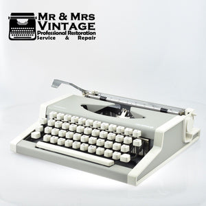 Professionally Serviced Working Olympia Traveller Typewriter Light Grey
