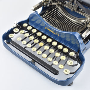 Rare and Mint Coronet Typewriters patent Corona 3 in Navy Blue and Rare Blood Orange