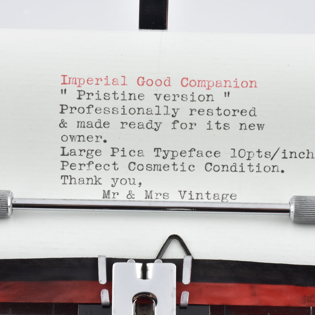 Imperial Good Companion Model 1 Typewriter Typeface