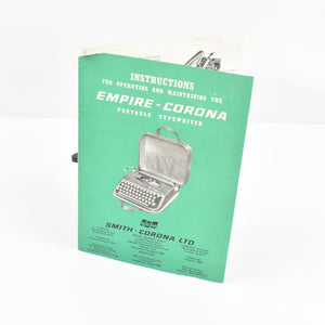 Original Empire Corona portable typewriter manual instructions