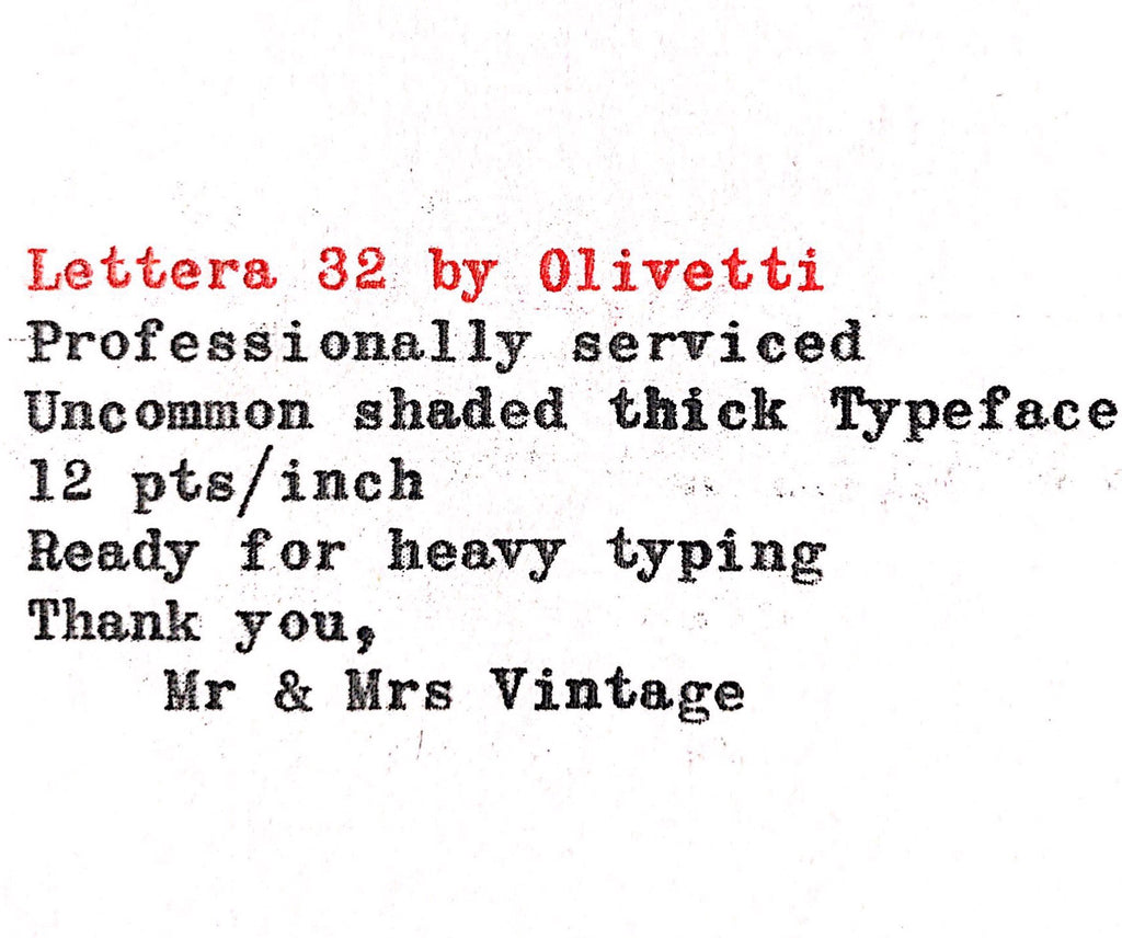 Professionally Serviced Working Olivetti Lettera 32 Typewriter typeface