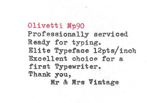 Olivetti MP 90 Typewriter typeface