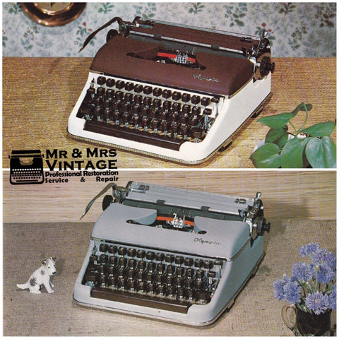 2 Original and Unused (Un-posted) Olympia SM3 Typewriter Postcards Rare Two Tone Grey Burgundy Rare to Find