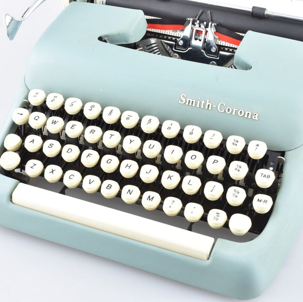 Smith Corona Sterling Typewriter in Light Blue