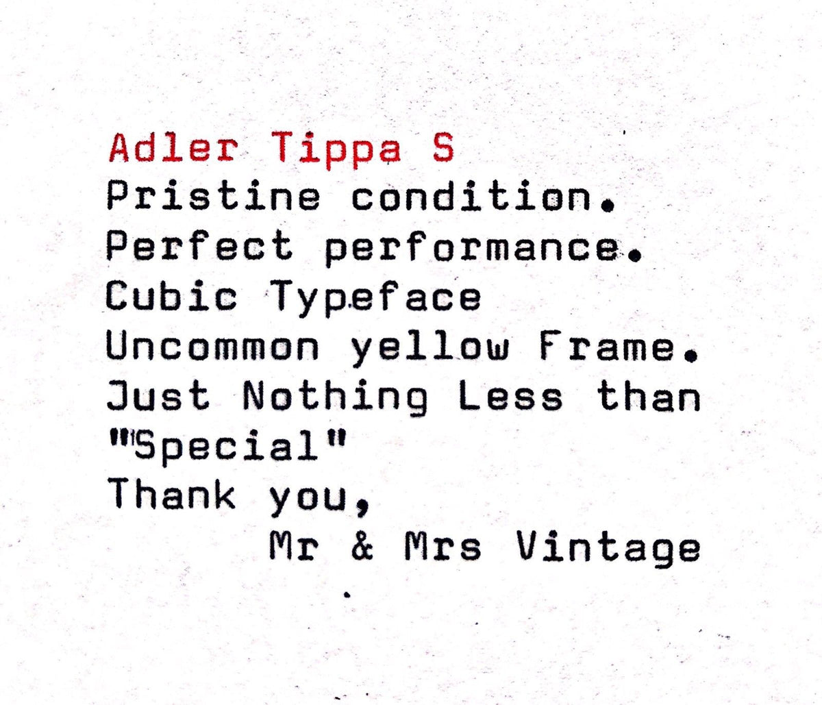 Pristine Yellow Adler Tippa S With Rare Cubic Typeface