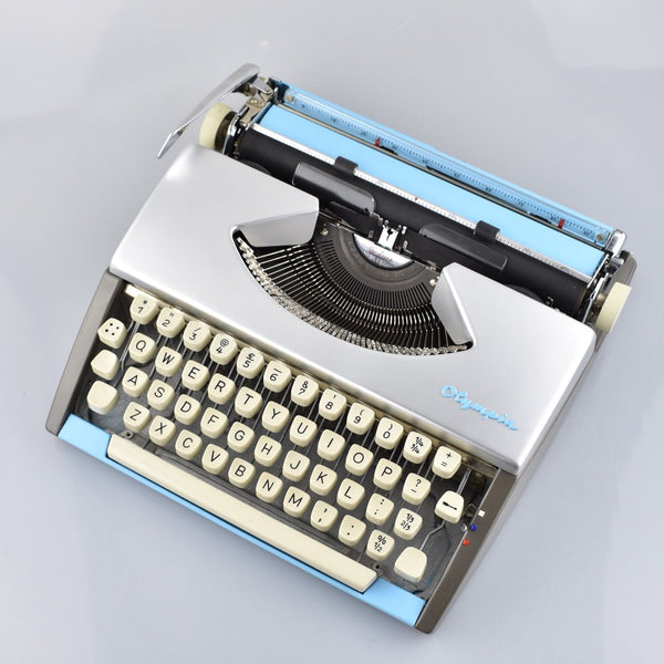 Olympia SF Typewriter  in Silver and Light Blue