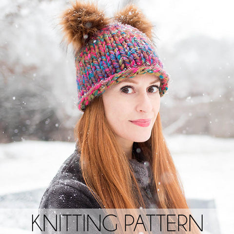 Double Pom Beanie Knitting Pattern