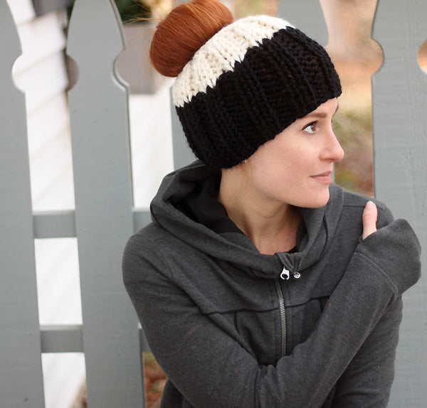Bun Hat Knitting Pattern