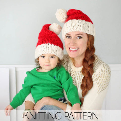 Family Santa Hats Knitting Pattern