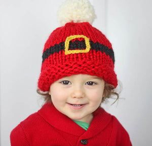 Santa's Belt Buckle Hat Knitting Pattern