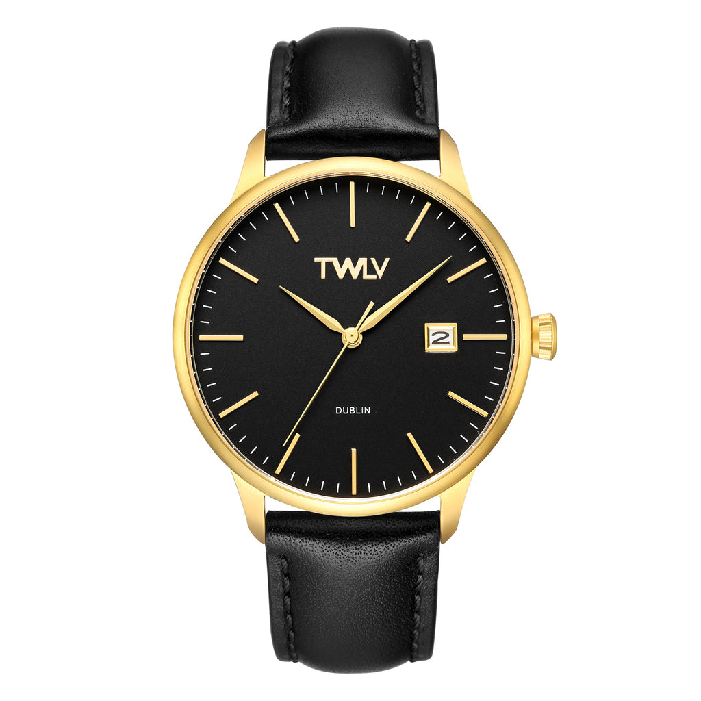 TW4304 TWLV Mr Smith Black Strap Gold Watch