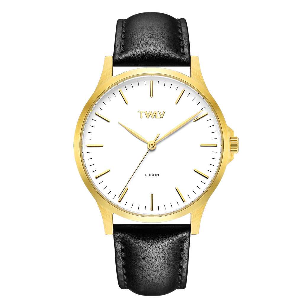 TW4608 TWLV Mr. Argue Black Strap Gold Watch