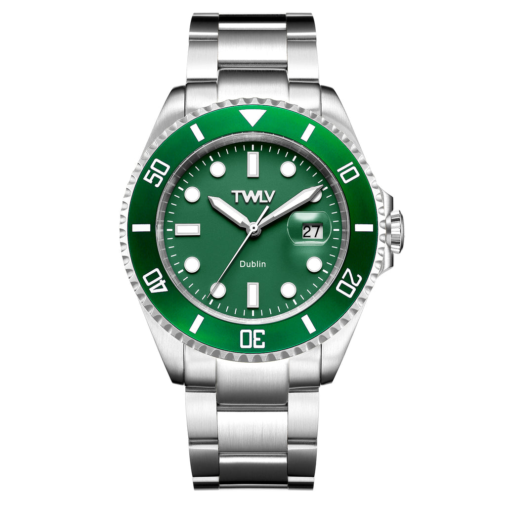 TWLV Mr. Power Green Dial Steel Watch