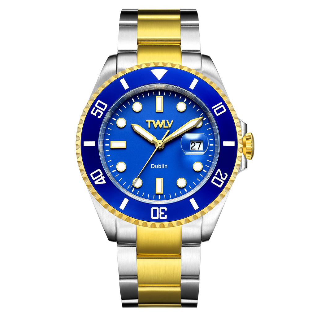 TWLV Gents Mr. Power Blue Gold Silver Watch