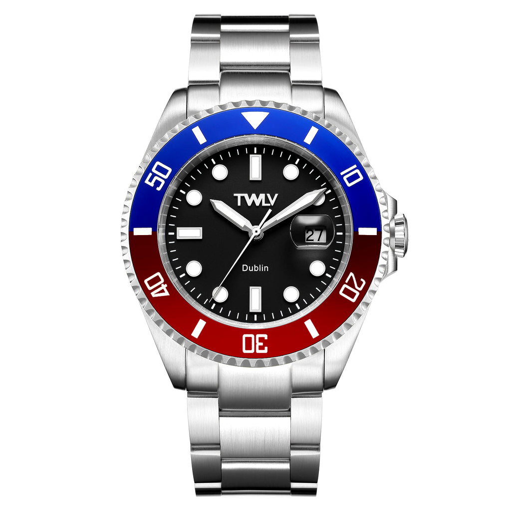 TWLV Gents Mr. Power Black Blue/Red Silver Watch