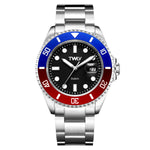 TWLV Mr. Power Blue and Red Steel Watch