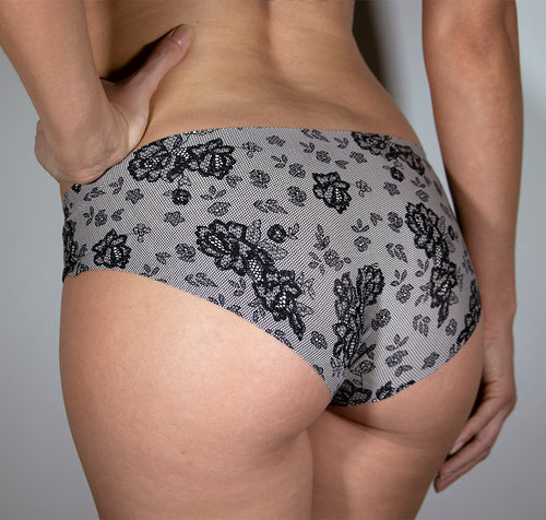 WOMEN'S PRINTED LOW RISE LASER CUT BRIEF PANTY L295