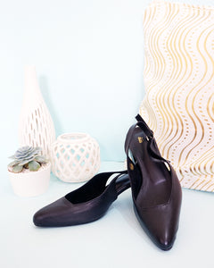 Marie Pointed Toe Slingback in Black