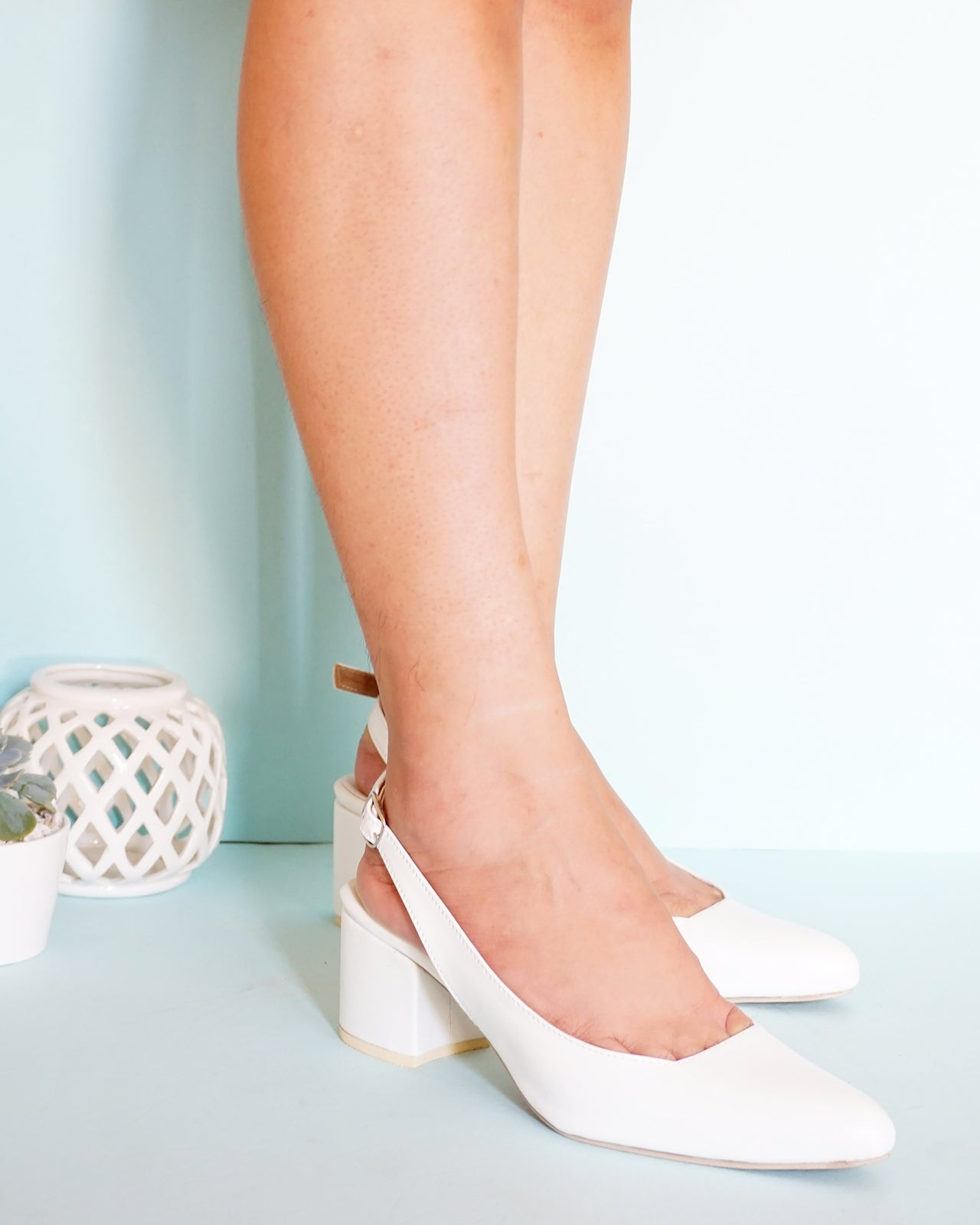 Marie Pointed Toe Slingback in White