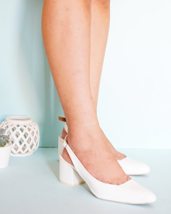Marie Peep-Toe Slingback in White