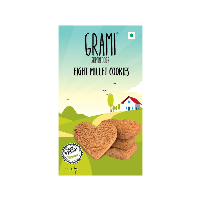 Grami Eight Millet Cookies 150Gm - sai-organics-pte-ltd