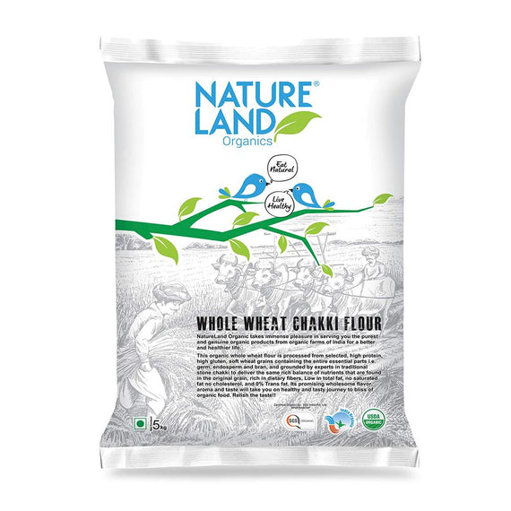 Natureland Organics Whole Wheat Flour 5 Kg - sai-organics-pte-ltd