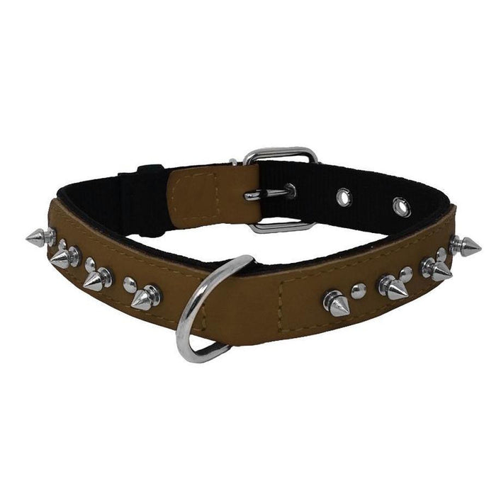 Leather + Nylon Spike Collar