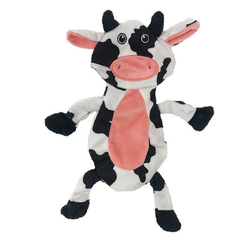 "12"" Cow Crinkle Flat Dog Toy"