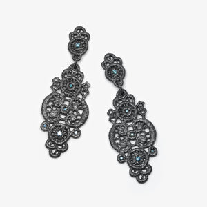 TURANDOT EARRING - OXI SILVER + BLUE DIAMONDS