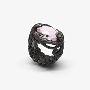 UNDINE RING - OXI + AMETHYST & DIAMONDS
