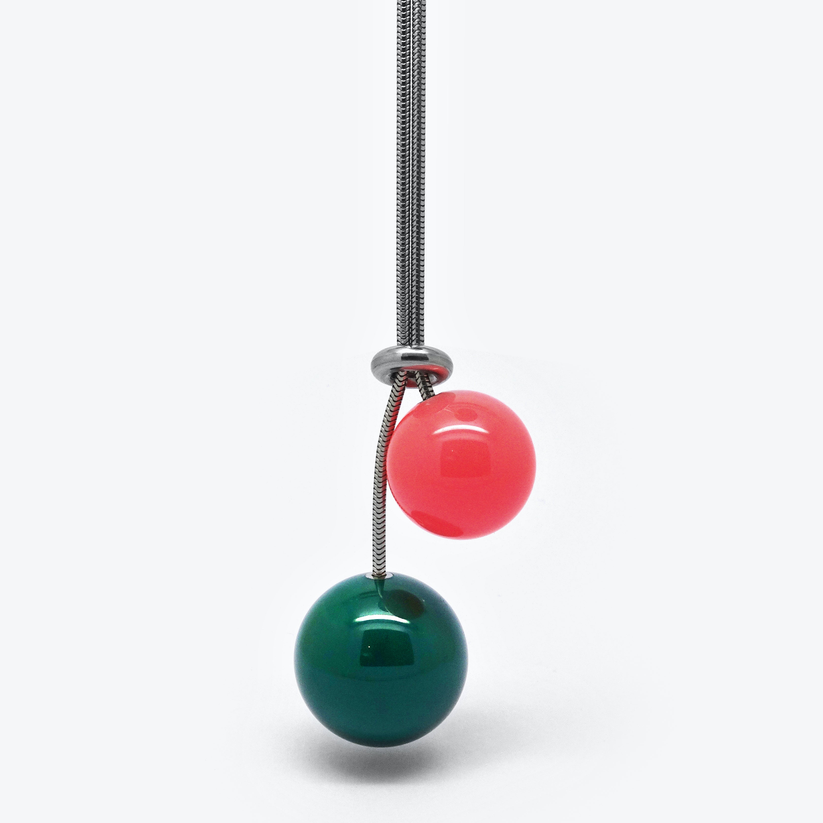 DOUBLE BALL NECKLACE - GREEN & PINK