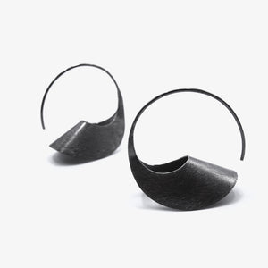 LARGE BLACK LOOP EARRINGS