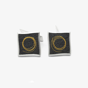 SQUARE GOLD CIRCLE CUFFLINKS