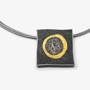 LARGE SQUARE PENDANT - GOLD CIRCLE
