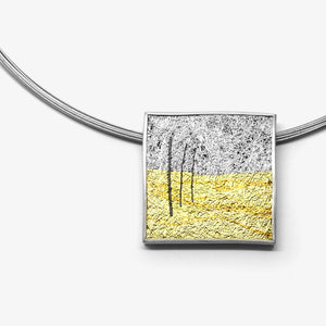 LARGE SQUARE PENDANT - GOLD FIELD
